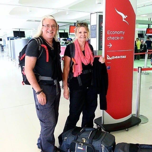 On the road again - check in at Qantas for our one way ticket