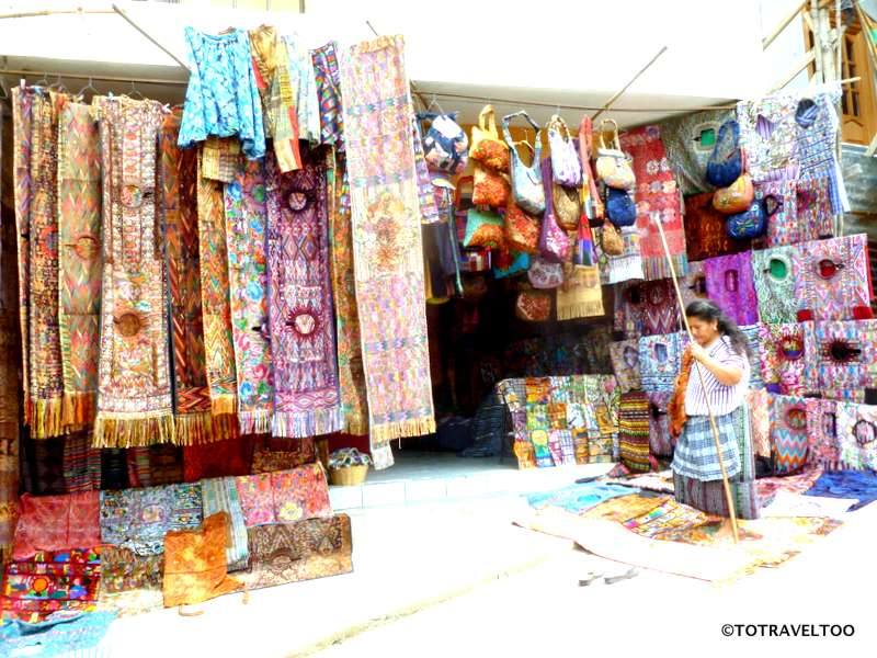 Colourful market on the banks of Lake Atitlan