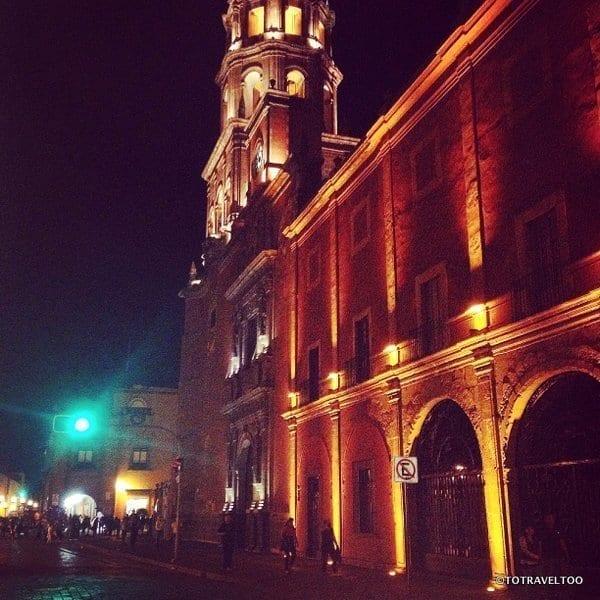 Queretaro and its cathedral at night