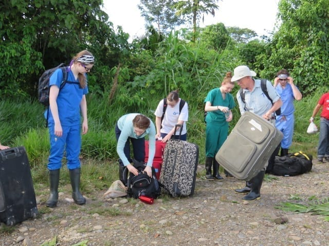 Luggage and totes full of supplies and equipment in the Amazon Jungle