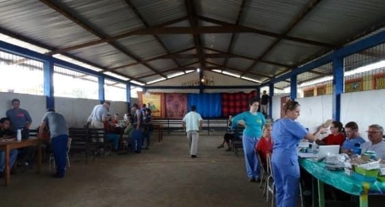 Set up and ready (doctors behind curtain #1 and curtain #2 at the medical facility in the Amazon Jungle