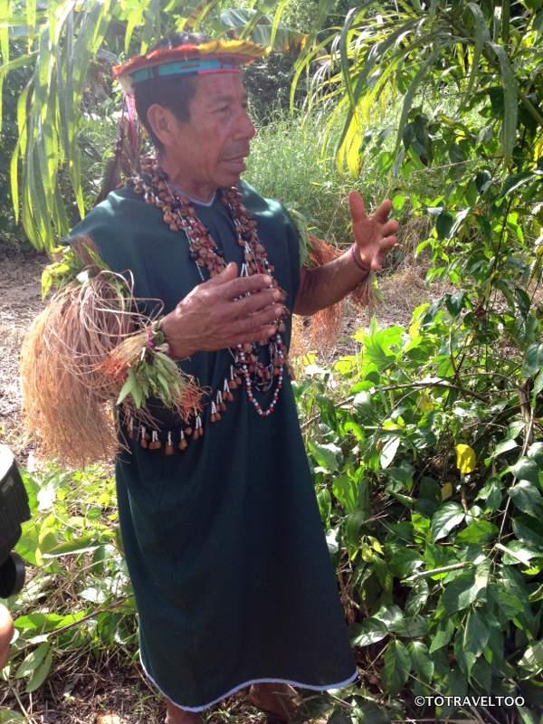 Shaman explaining the benefits of the Ayahuasca plant