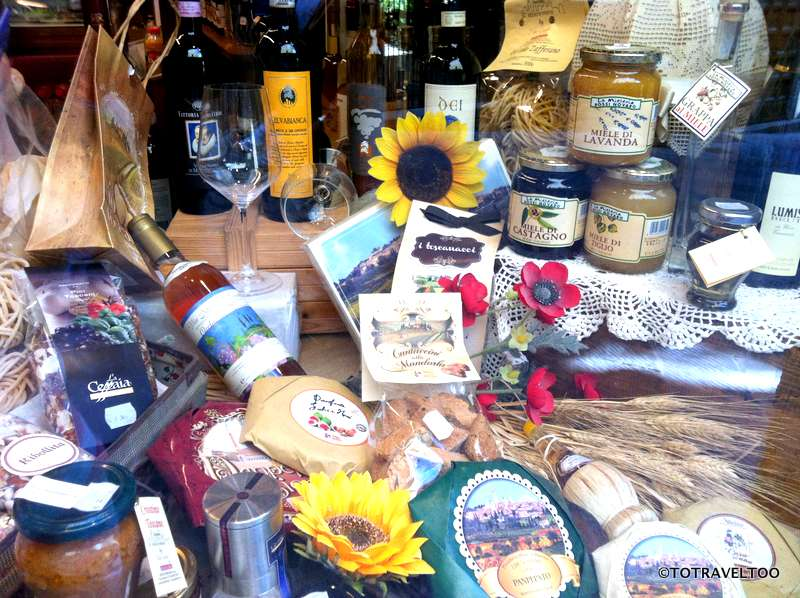 The tastiest array of food products in the window - a foodies delight in San Gimignano