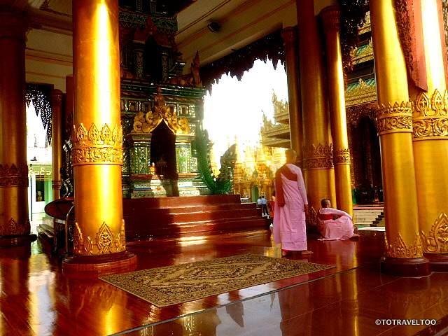 Gathering for prayer time at Shwedagon Pagoda